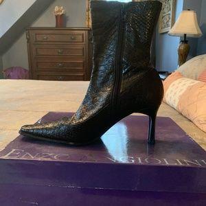 Black Snakeskin Boots NIB Size 9M